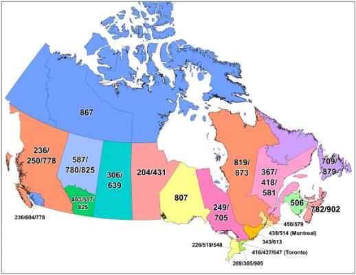 Mã vùng Canada